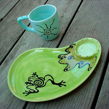 Frog pond snack set plate and cup