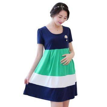 Summer Maternity Clothing Cotton Maternity Dress Gravida Roupa Gestante Dresses for Pregnant Women Hit Color Pregnancy Clothes