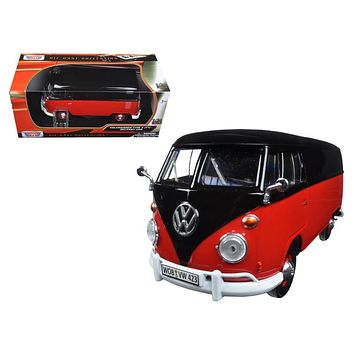 Volkswagen Type 2 (T1) Delivery Van Black and Red 1/24 Diecast Model Car by Motormax