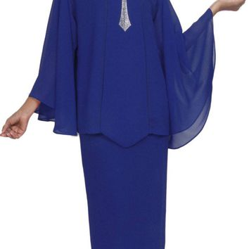 Hosanna 5031 Plus Size Church Choir Royal Blue Tea Length Dress 4 Piece Set