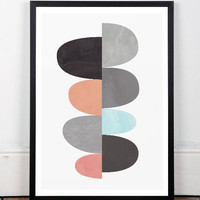 Wall prints, Mid century modern, Geometric art, Scandinavian, Abstract art, Scandinavian print, Wall print, Modern art, Print art, Office