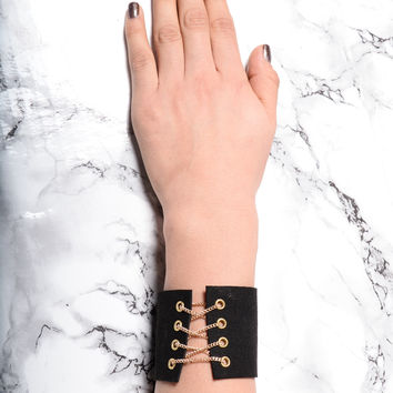 Don't Criss Cross Me Cuff Bracelet - Black