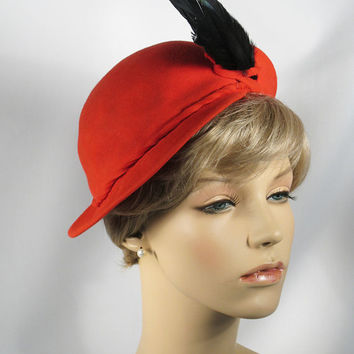 Vintage 40s Bes Ben Hat Red Felt Asymmetrical Style with Feathers Sz 22