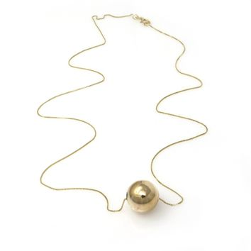 Minimalist 14k Gold Ball Bead Slide Necklace, Vintage, 1930s to 1980s