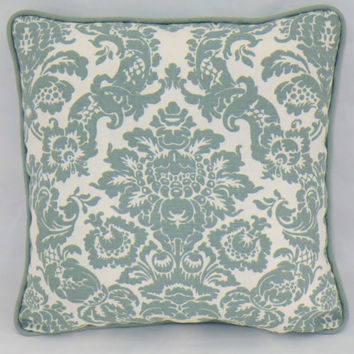 "Aqua Damask Print Linen Throw Pillow Blue White Teal Medallion Toile 16"" Square Chris Stone Fabrics Cover and Insert Included Ready Ship"