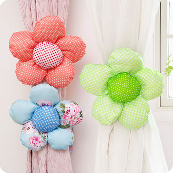 Cotton Sun Flower Curtain Tieback Holdback Holder For Home Decoration Curtain Accessories Home Decor Supplies 4 Colors
