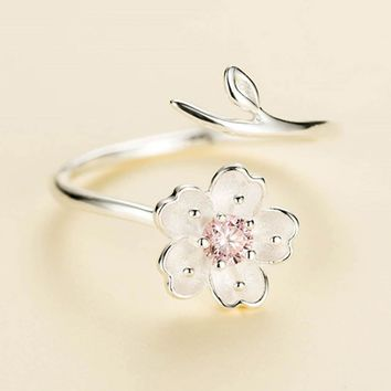 New Fashion Silver Color Poetic Daisy Cherry Blossom Finger Ring For Women Engagement Fashion Jewelry