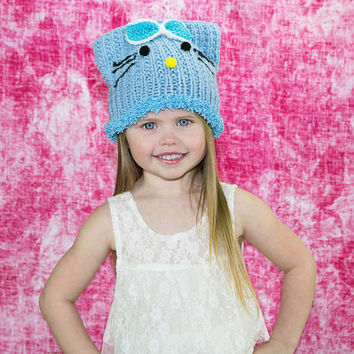 Kids Cat Ear Hat Knit Cat hat Cat beanie kitty beanie, girly hat, animal ear knit, fun beanies, toddler knit hat, baby blue cap, etsy Canada