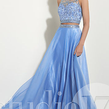 High-Neck Illusion Long Prom Dress