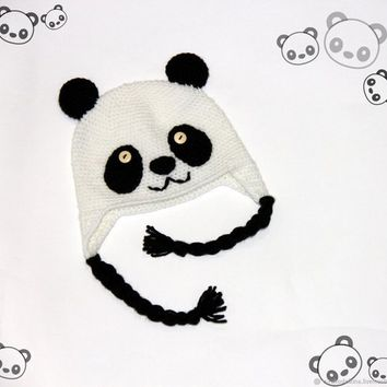 Panda Crochet Hat for kids, Fleece Lining, Earflap Hat, Free shipping