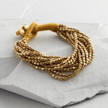 Gold Multi Strand Beaded Bracelet