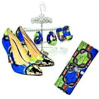 Pointed toes luxury African Print  Shoes And Bag set