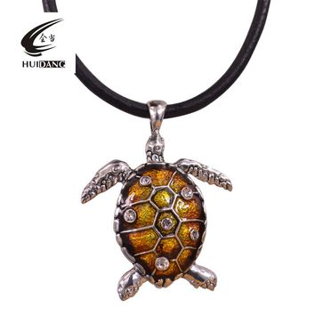 Statement Enamel Tortoise Turtl Necklace Pendant