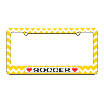 Soccer Love with Hearts - License Plate Tag Frame - Yellow Chevrons Design
