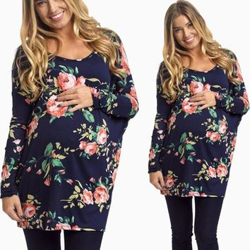 Womens Long Sleeve Blouse Flower Print For Maternity T-Shirt
