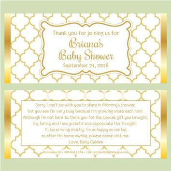 Elegant Baby Shower Candy Bar Wrappers