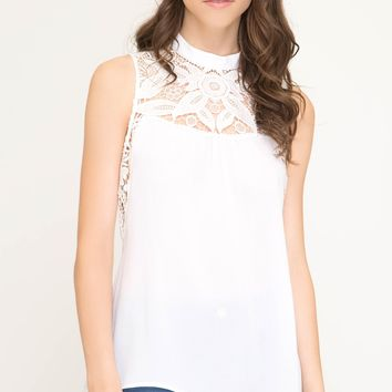 Women's Sleeveless Top with Crochet Lace Neckline and Open Back