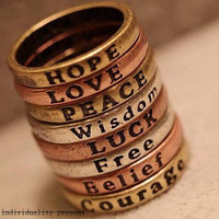 Simple retro lettering wishing ring, choose your personalized