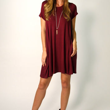 fdd8e4631e Tess T-Shirt Dress: Burgundy from Tea Ella | Cute Outfits