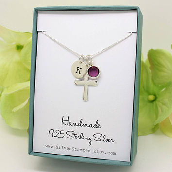 Confirmation gift for girl Sterling Silver Initial birthstone cross necklace, religious jewelry, first communion necklace