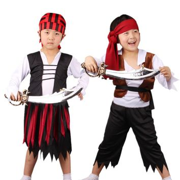 Kids Carnival Party Halloween Costume Children Boy Girl Pirates Cosplay Costumes Hallowmas Party Fancy Dress Supplies