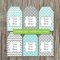 Editable Gift Tags Printable Labels Digital Collage Editable JPG File Light Teal Grey INSTANT DOWNLOAD Printable Baby Shower Favor Tag 002