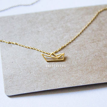 Outline Sail Boat Tiny Gold Plated Pendant Necklace