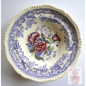 Vintage Roses Spode Mayflower Periwinkle / Lavender Transferware Rimmed Soup Plate Bowl Hand Painted