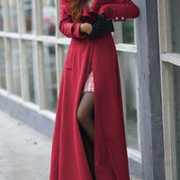 Red Long Sleeve Buttoned Woolen Long Trench Coat
