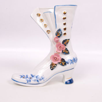 Vintage Brinns Porcelain Shoe Boot Figurine Hand Painted White Blue Gold Applied Pink Roses
