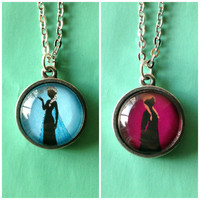 Anna and Elsa Double Sided Petite Disney Necklace - Inspired from Disney's Frozen