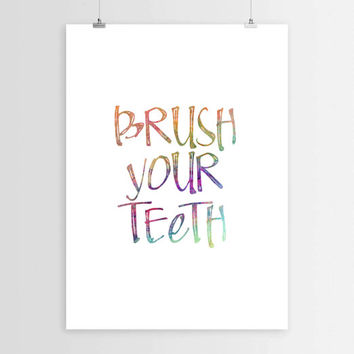 Brush your teeth,Instant download,Teeth print,Typographic print,Inspirational print,Bathroom print,Bathroom poster,Printable art,Kids art