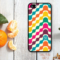 Fun, Bold Wavey Retro Pattern. Customize With Your Initial. iPhone 4 // 4s // 5 // 5s // 5c