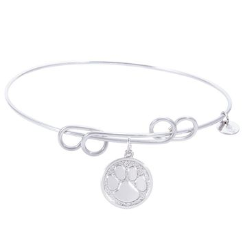 Sterling Silver Carefree Bangle Bracelet With Pawprint Charm