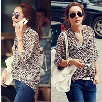 Women Chiffon Floral Print Lapel Shirt Long Sleeve Loose Tops Blouse NW