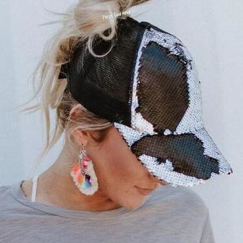 Mermaid Sequin Messy Bun Baseball Hat - Black