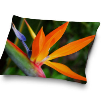 Strelitzia - Pet Bed, Tropical Bird of Paradise Floral Pet Bedding, Orange & Green Beach Botanical Coral Fleece Pet Pillow Bed. SML/MED/LRG