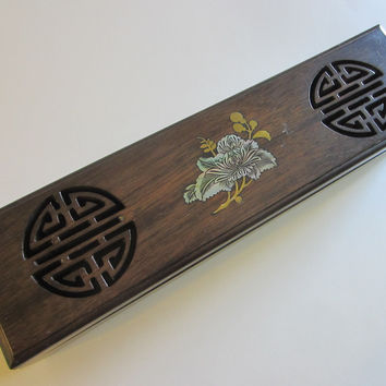 Oriental Celluloid Wood Alike Jewelry Box With Symbols Mother of Pearl Lotus