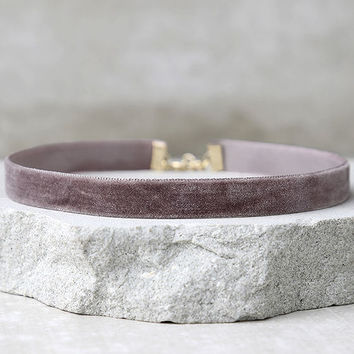 Love Me Forever Mauve Velvet Choker Necklace