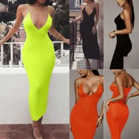 Women Sexy Neon Sleeveless Bodycon Long Dress