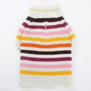 Colorful Stripes Dog Sweater by Dogo - Pink