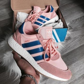 CHEN1ER Adidas Iniki Runner Boost Pink/Blue Fashion Trending Running Sports Shoes Sneakers H 8