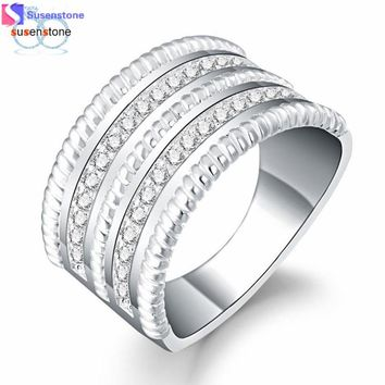 SUSENSTONE Fashion Women Crystal Round Zirconia Band Silver Ring Jewelry