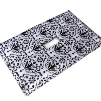 White and Black Damask Single Light Switch Plate, Paper Decoupage, Varnished