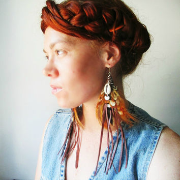 Long Feather Earrings. Cowrie Shell & Leather Fringe. One of a Kind Statement Jewelry