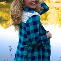 Days Like This Cardigan: Blue/Green Plaid