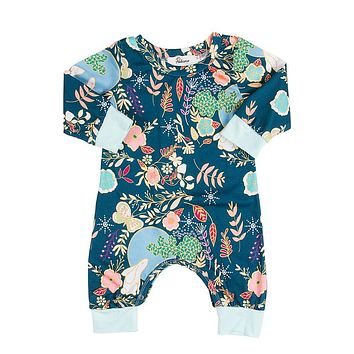 High Quality Newborn Baby Boys Girls Cotton Rabbit Long Sleeve Romper Floral Jumpsuit Outfits Sunsuit Clothes