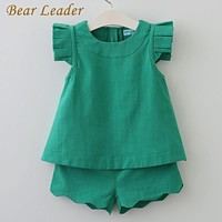 Girls Clothing New Arrivals O-Neck Sleeveless Solid Kids Clothing Sets Children Clothing