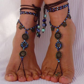 SKY MANDALA BAREFOOT sandals butterflies foot jewelry hippie sandals toe ring anklet beaded crochet barefoot tribal sandal festival yoga