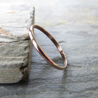 Simple Thin Traditional Gold Wedding or Promise Ring in Solid 14k Rose Gold: 1.5mm Half Round Ring